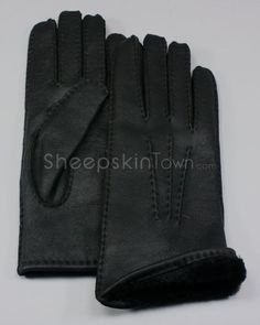 Black Sheepskin Nappa Gloves for Women
