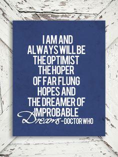 Doctor Who Print - The Optimist - Dr Who, Tardis, Blue and White Decor, Matt Smith - 8x10 Print