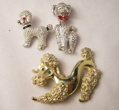 Vintage Collection 3 Poodle Dog Scatter Pins by GretelsTreasures