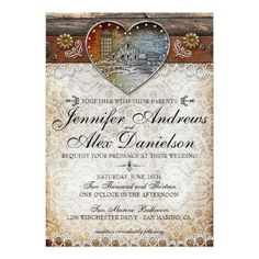 Rustic Barn Country Wedding Invitation.  So many subtle details can be seen on this wedding set. From a wood background that holds lace embellished burlap texture. From the aged metal heart in the center with a barn illustration in the middle of it and faux diamonds. Faux metal flowers, grometts and buttons adorn the top leather piece as well as flourish elements. Elegant and fun typography is placed atop the burlap texture on both the Wedding Invitation & RSVP. Prints well on any card…
