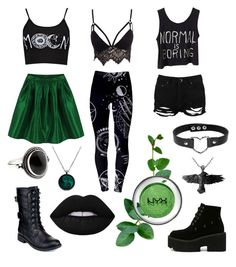 """""""🌿 Green Moon 🌙"""" by arsenicwitch on Polyvore featuring Club L, Boohoo, Refresh, Accessorize and Lime Crime"""