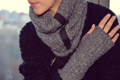 Special 35% SALE. Get a beautiful set of feather-soft wool infinity scarf and matching fingerless gloves for you or your loved one. http://etsy.me/1EJ1S6b