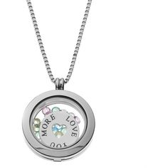 """Blue La Rue Crystal Stainless Steel 1-in. Round """"Love You More"""" Charm... ($100) ❤ liked on Polyvore featuring jewelry, pendants, grey, round locket, heart charm, locket charms, stainless steel jewelry and round charm"""