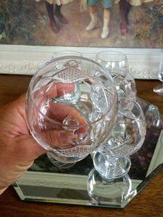 Elegant Crystal Cut Glass Snifter Goblets Set of 5