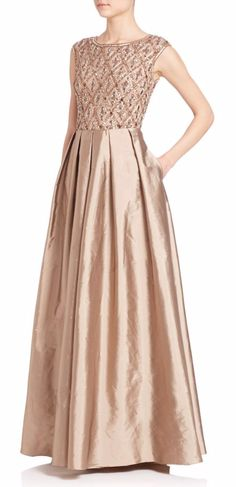 Neutral Metallic Mother Of The Bride Dress An Elegant Ballgown Style With Beaded Bodice And Short Sleeves In Gold Bronze Color
