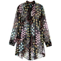 Valentino Floral-print Silk Chiffon Blouse - Size 12 (4.475 RON) ❤ liked on Polyvore featuring tops, blouses, neck ties, floral blouse, floral tie neck blouse, sheer floral blouse and neck-tie