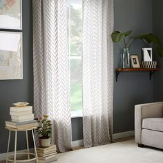 Sheer chevron curtain frost gray west elm more curtain frost west elm