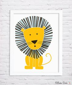 Nursery art, nursery decor, baby nursery print, kids room decor, nursery wall art, lion, 8x10 in. print- Lion