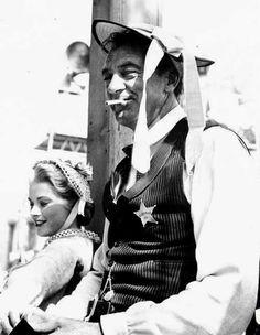 Grace Kelly & Gary Cooper on the set of High Noon (1952, dir. Fred Zinnemann)