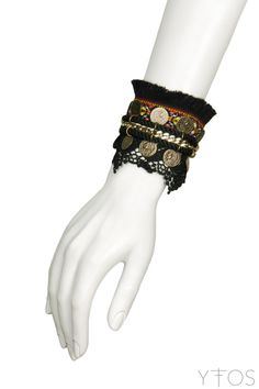 'Textile & Lace' Black Double Bracelet