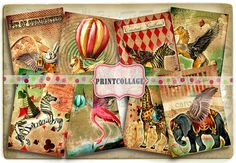 Carnival Circus Digital Collage Sheet Designed Gift Tags and Cards for Scrapbooking Printable Vintage Paper for Jewelry Holders Tags Card Tags, Gift Tags, Cards, Scrapbook Paper Crafts, Scrapbook Pages, Scrapbooking, Arts And Crafts Projects, Digital Collage, Collage Sheet