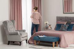 Spálňa v kolekcii Velvet.  #spalna#postel#prehoz#velvet#novinka#vankuse#zavesy#kreslo My Room, Lounge, Velvet, Couch, Fabric, Furniture, Home Decor, Chair, Airport Lounge