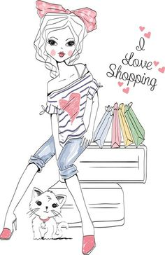 Find Shopping Girl stock images in HD and millions of other royalty-free stock photos, illustrations and vectors in the Shutterstock collection. Cute Images, Cute Pictures, Dibujos Cute, Illustration Girl, Makeup Illustration, Digi Stamps, Cute Dolls, Big Eyes, Happy Planner