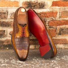 Custom Made Long Wingtip Blucher in Italian Raw Crust Leather with a Cognac Hand Patina and Brown Croco From Robert August. Create your own custom designed shoes. Calf Leather, Leather Shoes, Brown Leather, Custom Design Shoes, Goodyear Welt, Men S Shoes, Brogues, Office Wear, Designer Shoes