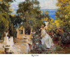 Painting Reproduction of A Garden in Corfu, John Singer Sargent