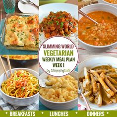 Diet Meal Plans Slimming Eats Vegetarian Weekly Meal Plan - Week 1 for Slimming World - taking the work out of planning so you can just cook and enjoy the food. Vegetarian Weekly Meal Plan, Vegetarian Italian, Vegetarian Weight Loss Plan, Vegetarian Lunch Ideas For Work, Veggie Meal Plan, Vegetarian Diets, Veggie Meals, Slimming World Vegetarian Recipes, Diet Recipes