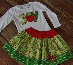 Girls custom Christmas JOY ornament tee by TOOCUTEbyJeannette 33797644b