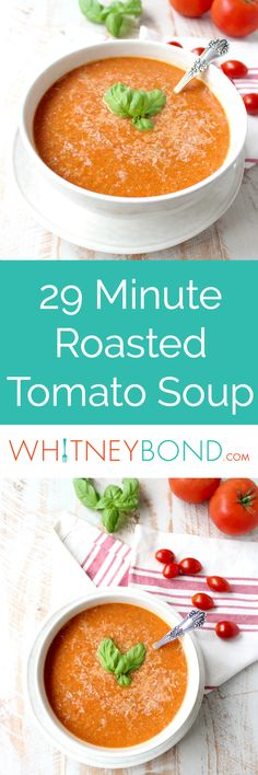 Roasted cherry tomatoes, garlic and onions are pureed into a vegan and gluten free tomato soup recipe, that's so easy to make in only 29 minutes! Serve in beautiful @worldmarket Muir Bowls!