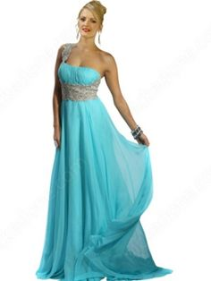 One Shoulder Appliques Prom Dress