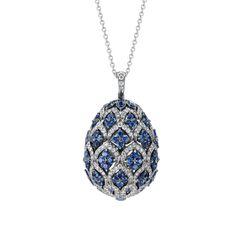 Fabergé Zenya Sapphire Egg Pendant #Fabergé #FabergéEgg #diamond #sapphire #pendant