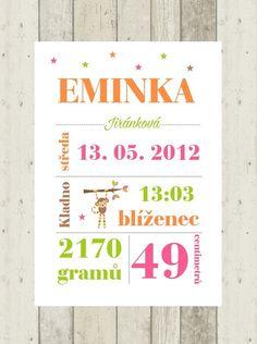 Plakát s údaji o narození dítěte