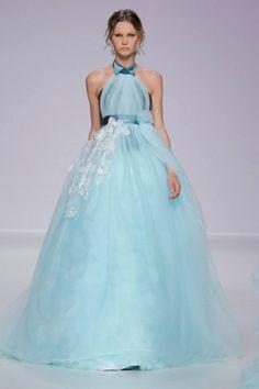 Vestito da sposa azzurro taglio impero