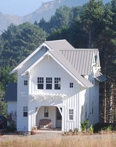 Big new white farmhouse Beautiful Curb Appeal Pinterest