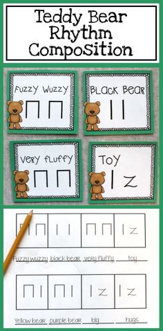 This is a great way to get and graders composing! Teddy bear rhythm composition with a simple Orff arrangement Music Education Games, Music Activities, Teaching Music, Kindergarten Music, Music Games, Kids Music, Movement Activities, Teaching Tools, Music Classroom