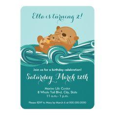 Baby Otter Birthday Party Invitation - birthday gifts party celebration custom gift ideas diy