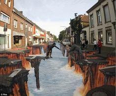 Street art. Dessins 3 D anomorphiques et oeuvres ephémères interactives