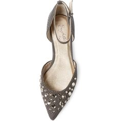 Seychelles Rule Of Thumb Embellished Flat ($79) ❤ liked on Polyvore featuring shoes, flats, flat ankle strap shoes, pointy toe ankle strap flats, d'orsay flats, pointed toe flats and leather flats