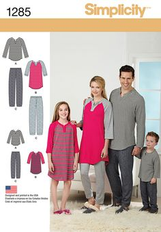 Keep the family cozy in loungewear made with Simplicity 1285. Child's, teens' and adults' knit top has raglan sleeve and is in two lengths. Pants with elastic waist have optional back pocket.