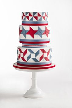 Beautiful Cake Pictures: Red, White And Blue Quilt Pattern Cake - Colorful Cakes, Patterned Cakes - Crazy Wedding Cakes, Unique Wedding Cakes, Wedding Sweets, Cake Wedding, Wedding Ideas, Wedding Planning, Beautiful Cake Pictures, Beautiful Cakes, Fondant Cakes