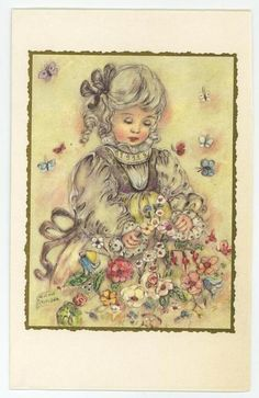 VINTAGE PRETTY GIRL FLOWER GARDEN RIBBONS BUTTERFLY ERNA MAISON CARD ART PRINT in Collectibles, Paper, Other Paper Collectibles | eBay