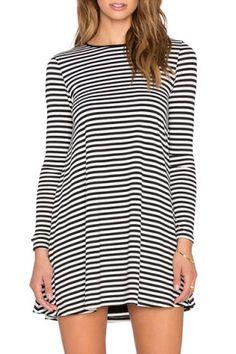 Casual Jewel Neck Long Sleeve Striped Women's Mini DressLong Sleeve Dresses   RoseGal.com