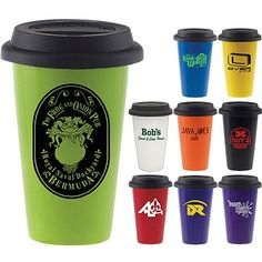 Bright and Fun Coffee Tumblers are going to look AWESOME with your Company logo added! Double Wall Porcelain Cup with Black Lid Take Away Coffee Cup, I Love Coffee, Coffee Shop, Coffee Tumbler, Coffee Cups, Best Way To Advertise, Promotional Pens, Ways To Wake Up, Pretty Packaging
