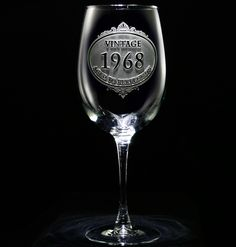 Customized Vintage Year Wine Glass. Personalized glasses. Engraved barware at Crystal Imagery.