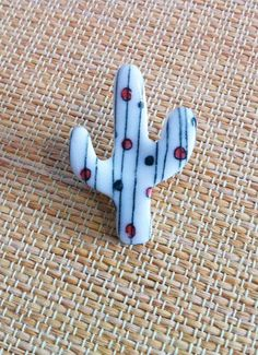Stripy Porcelain Cactus Brooch by ByeByeBelle on Etsy