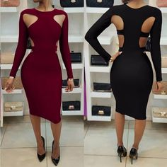 055cd9bfac Sexy Scoop Hollow Out Long Sleeve Bodycon Knee-length Dress – Oh Yours  Fashion