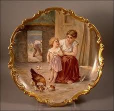 Dekorační talíř * porcelán se zlaceným zdobeným okrajem,s ručně malovaným obrázkem - matky s dítětem * Dubois.