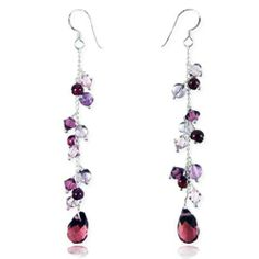 Charming Purple Swarovski Crystal Sterling Silver Drop Earrings
