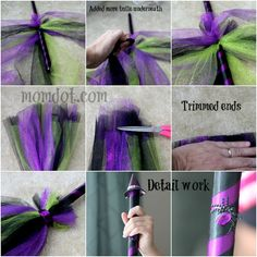 DIY Tulle Broom Halloween (Jen: Just made it today with random supplies around the house and it turned out great!)