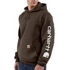 Carhartt Men's Hooded Logo-Sleeve Sweatshirt