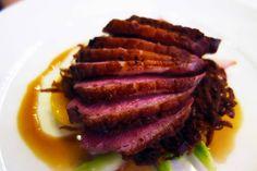 Quebec Duck Breast. Pan roasted, seasonal vegetables, potato rosti, game jus. Pangaea Restaurant, 1221 Bay St., Toronto.