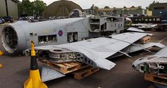 The stripped hulk of Panavia Tornado ZA600 after being reduced to produce or RTP at RAF Leeming in June 2016