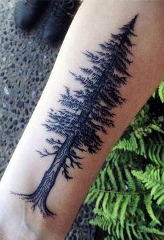 35 Best Tree Tattoos That Represent Long-Life - Beste Tattoo Ideen Body Art Tattoos, New Tattoos, Sleeve Tattoos, Tattoos For Guys, Tatoos, Redwood Tattoo, Tree Tattoo Side, Tree Roots Tattoo, Forearm Tree Tattoo