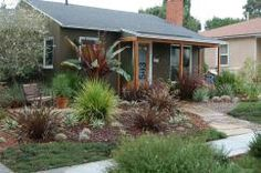 Front yard that has been converted from a water-thirsty lawn into a beautiful drought-tolerant garden which invites hummingbirds and butterflies.