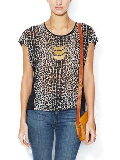 BEYOND VINTAGE - Leopard Dolman Sleeve Blouse