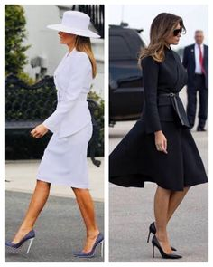First Lady Melania Trump - Two striking outfits. Classy Outfits, Cool Outfits, Fashion Outfits, Milania Trump Style, Ivanka Trump Dress, First Lady Melania Trump, Classic Style Women, Classy Women, Dress To Impress