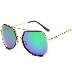 #SUNGLASSES #NEW Trend Sunglasses Women Glasses Reflective Color Film Fashion Shades Retro Fashion Design Vintage Women Sunglasses Free…